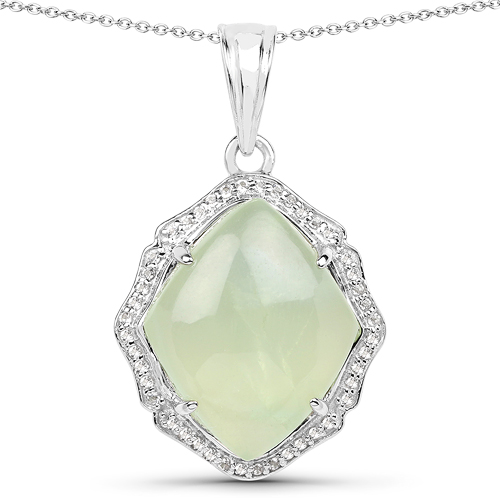 Pendants-7.49 Carat Genuine Prehnite And White Topaz .925 Sterling Silver Pendant