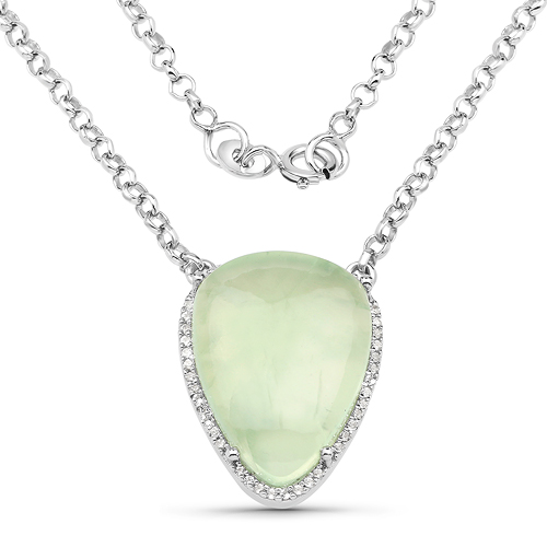 Pendants-10.77 Carat Genuine Prehnite And White Topaz .925 Sterling Silver Pendant