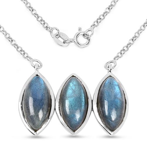 11.21 Carat Genuine Labradorite .925 Sterling Silver Pendant