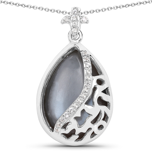 Pendants-8.83 Carat Genuine Grey Moonstone And White Topaz .925 Sterling Silver Pendant