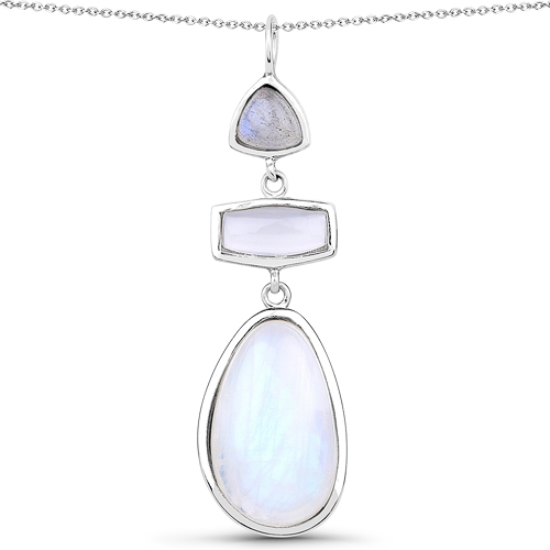 """11.79 Carat Genuine Labradorite, White Agate And White Rainbow Moonstone .925 Sterling Silver Pendant"""