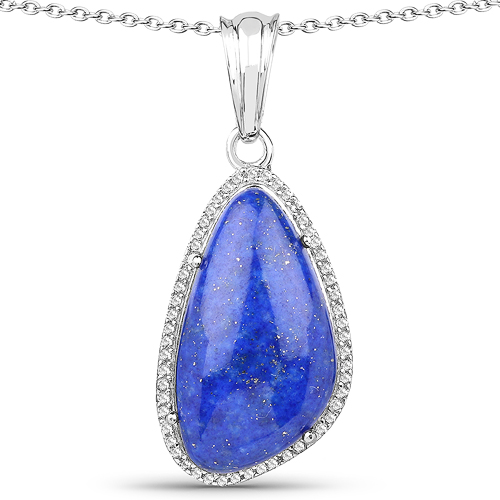 Pendants-7.72 Carat Genuine Lapis And White Topaz .925 Sterling Silver Pendant