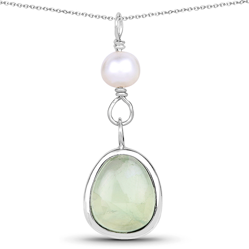 Pearl-5.46 Carat Genuine Pearl And Prehnite .925 Sterling Silver Pendant