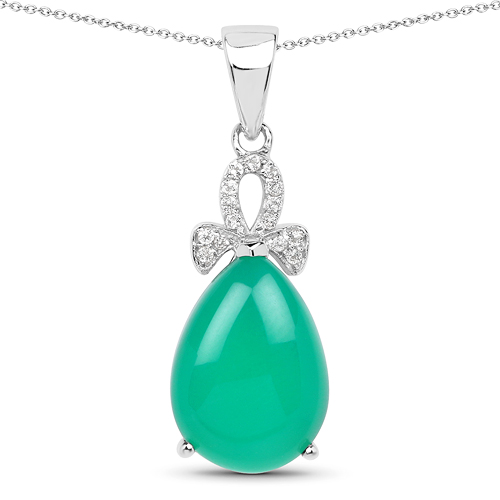 Pendants-4.34 Carat Genuine Green Onyx And White Topaz .925 Sterling Silver Pendant