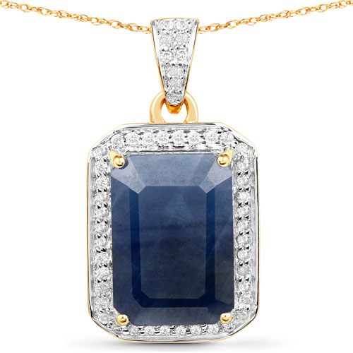 Sapphire-7.25 Carat Genuine Blue Sapphire and White Diamond 14K Yellow Gold Pendant