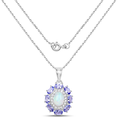 3.10 Carat Genuine Ethiopian Opal, Tanzanite and White Zircon .925 Sterling Silver Pendant