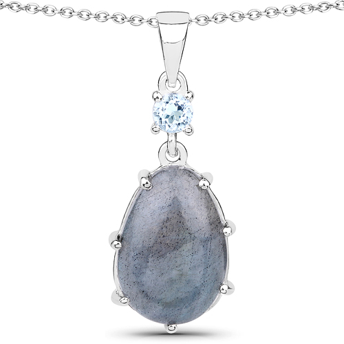 4.35 Carat Genuine Labradorite and Blue Topaz .925 Sterling Silver Pendant