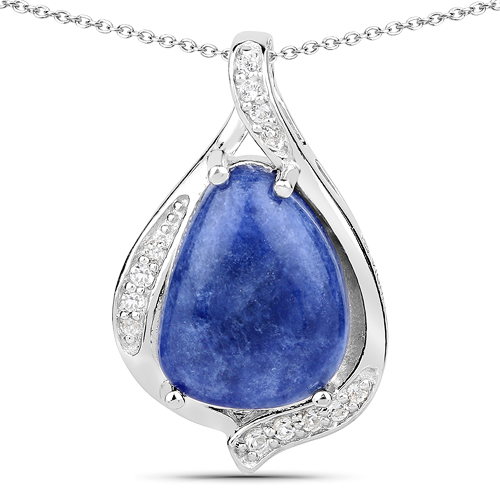 Pendants-2.39 Carat Genuine Blue Aventurine and White Topaz .925 Sterling Silver Pendant