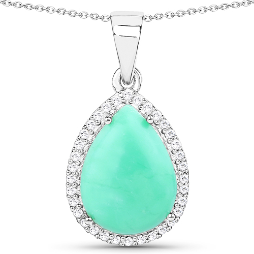 Pendants-3.73 Carat Genuine Crysopharse and White Topaz .925 Sterling Silver Pendant