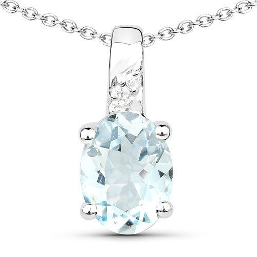 Aquamarine-1.07 Carat Genuine Aquamarine and White Zircon .925 Sterling Silver Pendant