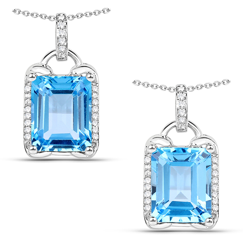 Pendants-4.00 Carat Genuine Swiss Blue Topaz and White Zircon .925 Sterling Silver Pendant