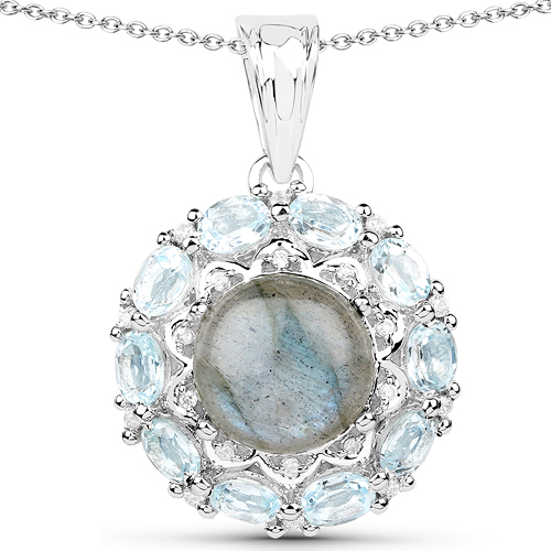 Pendants-5.90 Carat Genuine Labradorite, Blue Topaz and White Zircon .925 Sterling Silver Pendant