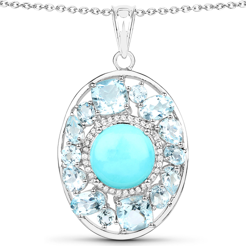 Pendants-9.59 Carat Genuine Turquoise, Blue Topaz and White Zircon .925 Sterling Silver Pendant