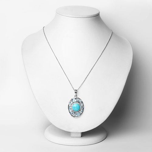 9.59 Carat Genuine Turquoise, Blue Topaz and White Zircon .925 Sterling Silver Pendant
