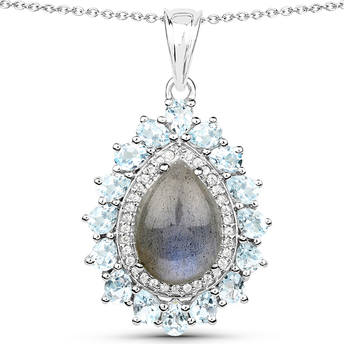 Pendants-7.93 Carat Genuine Labradorite, Blue Topaz and White Zircon .925 Sterling Silver Pendant