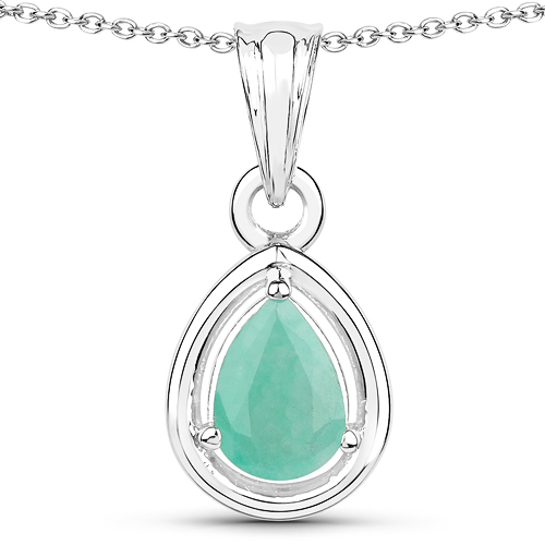 Emerald-0.62 Carat Genuine Emerald .925 Sterling Silver Pendant