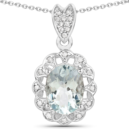 Aquamarine-1.16 Carat Genuine Aquamarine and White Zircon .925 Sterling Silver Pendant