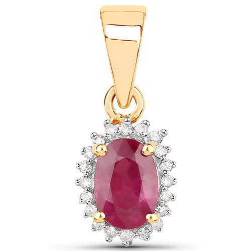 Ruby-0.62 Carat Genuine Ruby and White Diamond 14K Yellow Gold Pendant