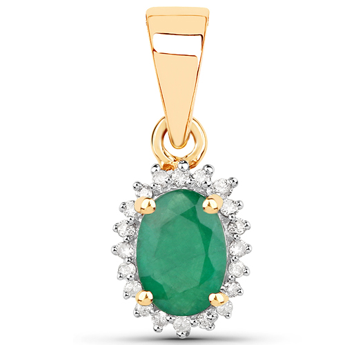 Emerald-0.50 Carat Genuine Zambian Emerald and White Diamond 14K Yellow Gold Pendant