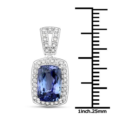 14K White Gold 3.01 Carat Genuine Tanzanite and White Diamond Pendant