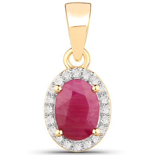 Ruby-1.00 Carat Genuine Ruby and White Diamond 14K Yellow Gold Pendant