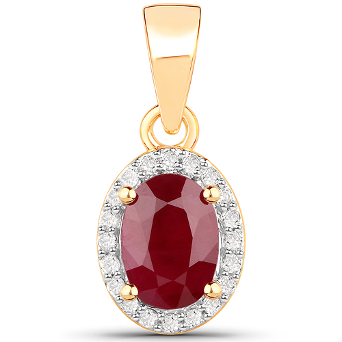 Ruby-1.04 Carat Genuine Ruby and White Diamond 14K Yellow Gold Pendant