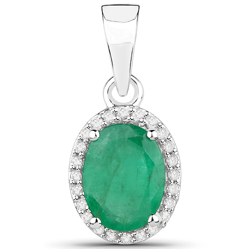 Emerald-1.29 Carat Genuine Zambian Emerald and White Diamond 14K White Gold Pendant
