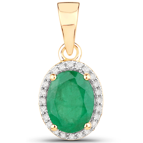 Emerald-1.29 Carat Genuine Zambian Emerald and White Diamond 14K Yellow Gold Pendant
