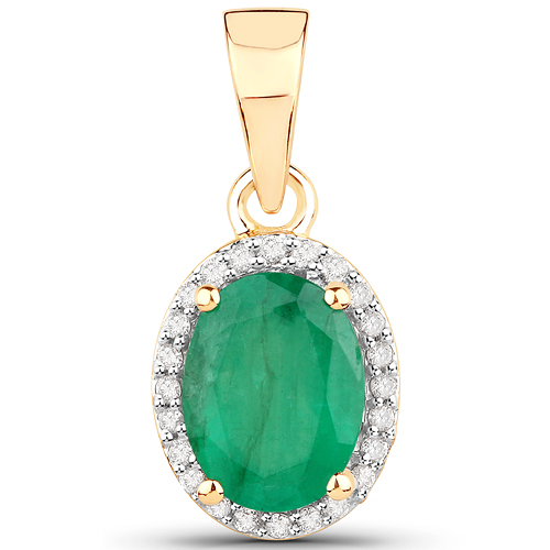 Emerald-1.34 Carat Genuine Zambian Emerald and White Diamond 14K Yellow Gold Pendant