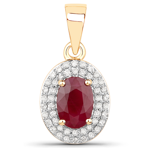 Ruby-1.17 Carat Genuine Ruby and White Diamond 14K Yellow Gold Pendant