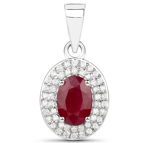 Ruby-1.08 Carat Genuine Ruby and White Diamond 14K White Gold Pendant