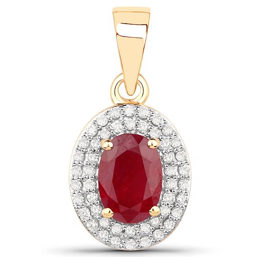 Ruby-1.08 Carat Genuine Ruby and White Diamond 14K Yellow Gold Pendant