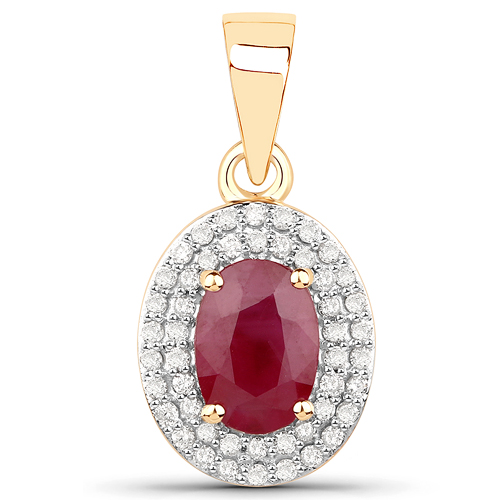 Ruby-1.12 Carat Genuine Ruby and White Diamond 14K Yellow Gold Pendant