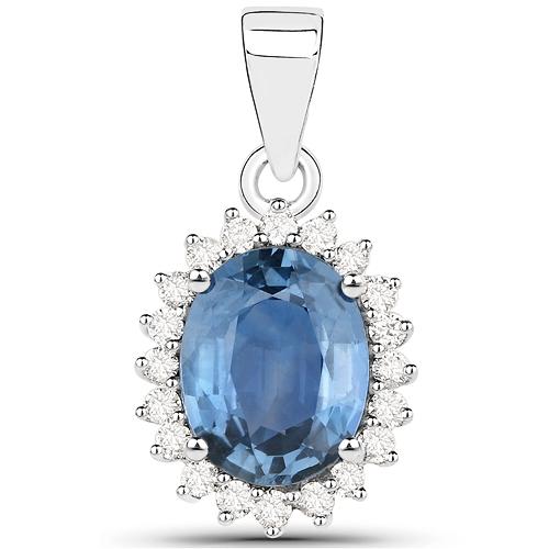 2.55 Carat Genuine Blue Sapphire and White Diamond 14K White Gold Pendant
