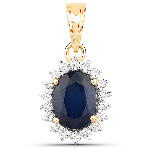 Sapphire-1.76 Carat Genuine Blue Sapphire and White Diamond 14K Yellow Gold Pendant