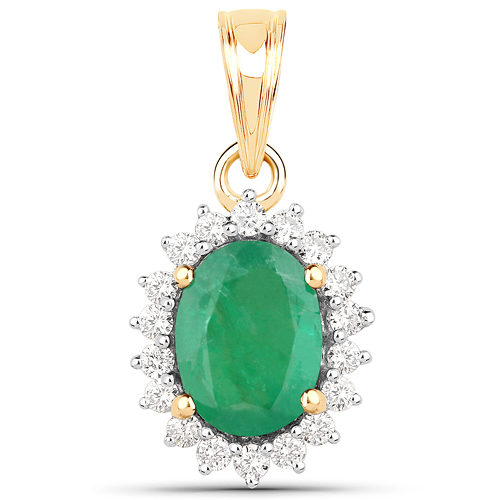1.42 Carat Genuine Zambian Emerald and White Diamond 14K Yellow Gold Pendant