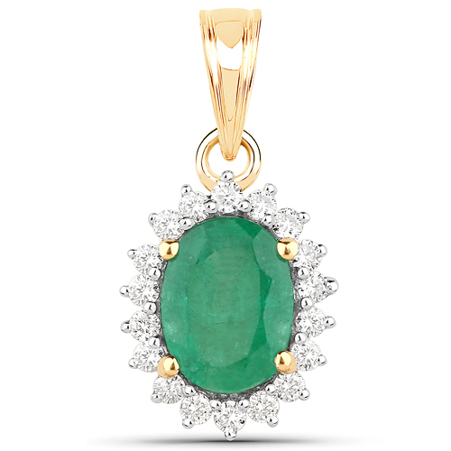Emerald-1.47 Carat Genuine Zambian Emerald and White Diamond 14K Yellow Gold Pendant