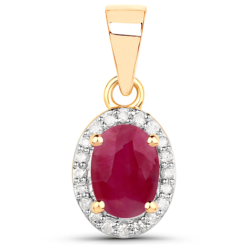Ruby-0.65 Carat Genuine Ruby and White Diamond 14K Yellow Gold Pendant