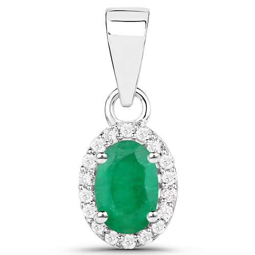 Emerald-0.53 Carat Genuine Zambian Emerald and White Diamond 14K White Gold Pendant