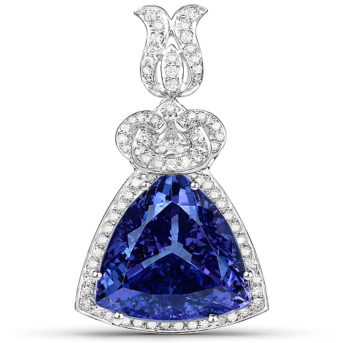Tanzanite-36.73 Carat Genuine Tanzanite and White Diamond 18K White Gold Pendant