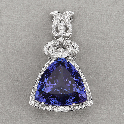 36.73 Carat Genuine Tanzanite and White Diamond 18K White Gold Pendant