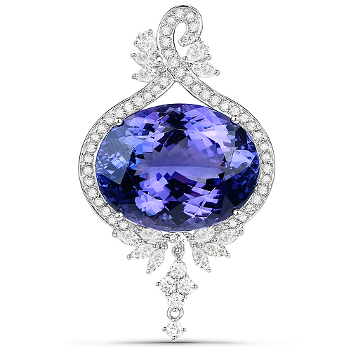Tanzanite-40.28 Carat Genuine Tanzanite and White Diamond 18K White Gold Pendant