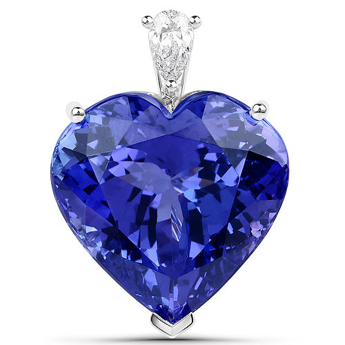 Tanzanite-35.27 Carat Genuine Tanzanite and White Diamond 18K White Gold Pendant