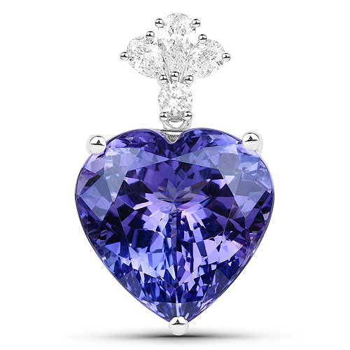 Tanzanite-19.30 Carat Genuine Tanzanite and White Diamond 18K White Gold Pendant