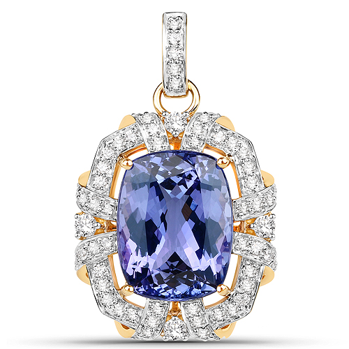 Tanzanite-16.05 Carat Genuine Tanzanite and White Diamond 18K Yellow Gold Pendant