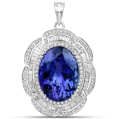 Tanzanite-27.91 Carat Genuine Tanzanite and White Diamond 18K White Gold Pendant