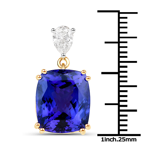 11.80 Carat Genuine Tanzanite and White Diamond 18K Yellow Gold Pendant