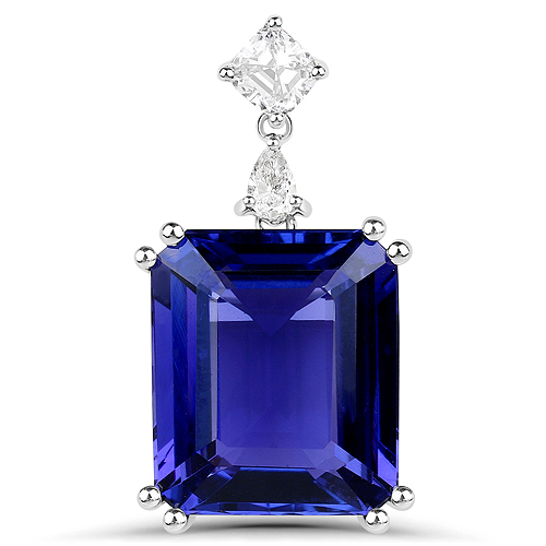 Tanzanite-12.31 Carat Genuine Tanzanite and White Diamond 18K White Gold Pendant