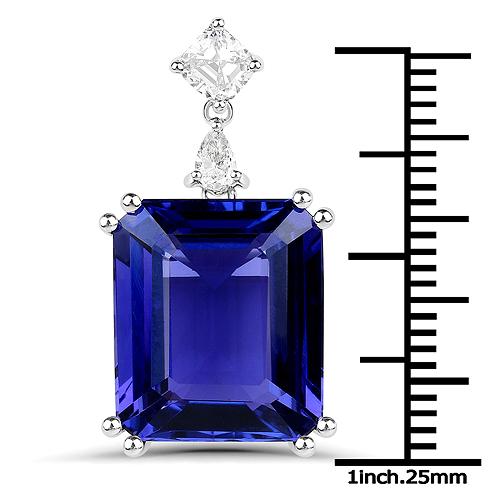 12.31 Carat Genuine Tanzanite and White Diamond 18K White Gold Pendant