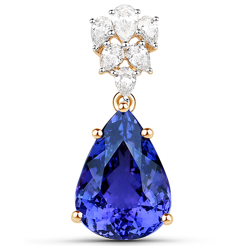 Tanzanite-11.79 Carat Genuine Tanzanite and White Diamond 18K Yellow Gold Pendant